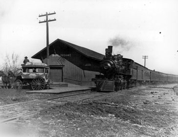 ATSF Depot at Burlingame, circa 1880-90, ATSF photo, courtesy Kansas State Historical Society