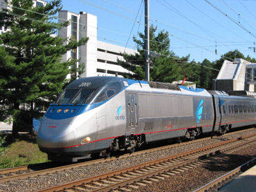 Acela Locomotive No. 2000 travels at up to 150 in the Northeast Corridor