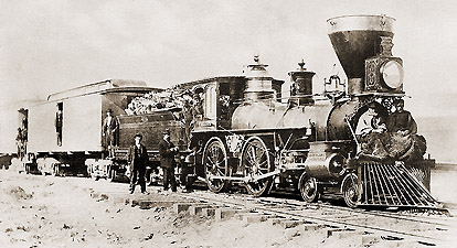 "CP locomotive No. 113 ""FALCON"" at Argenta, Nevada, March 1, 1869, with U.S. Special Pacific Railroad Commission members sitting on its pilot inspecting the track. (John B. Silvis photographer)"