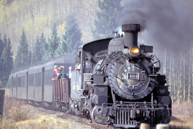 Cumbres & Toltec No. 484 with passenger train (Dennis Adams)