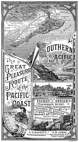 "The Great Pleasure Routes of the Pacific Coast"" Southern Pacific Railroad, Northern Division 1885, E. Schultze for the Southern Pacific Railroad (Engraving)"