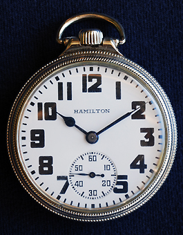 Hamilton 974 Special, with optional railroad service dial, mfg. 1931