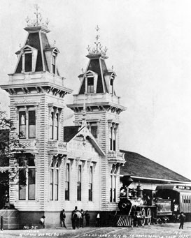 Los Angeles and Independence Railroad Depot at Fifth Street and San Pedro Street, Los_Angeles circa 1875