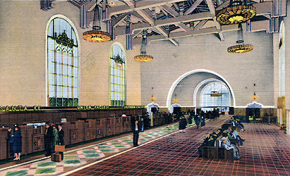 LA Union Station Ticket Concourse shortly after opening, Western Publishing & Novelty Co. photo
