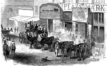 Overland Mail Co. Stage leaving San Francisco, 1858 (Harpers Weekly, December 11, 1858)