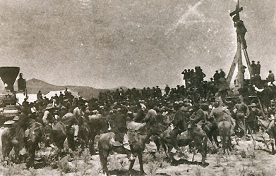 The Invocation at Promontory, Utah, May 10,1869< A.A. Hart photo, Courtesy N.Y. Historical Society