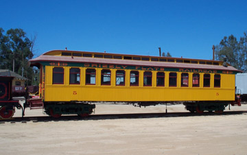 Former C&C Coach No. 5, now Grizzly Flats Coach No. 5, at Orange Empire Railway Museum (Richard Boehle photo)