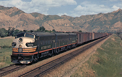 Southern Pacific F-7 No. 6226 diesel units pulling freight train near Ogden, Utah, photo courtesy SP