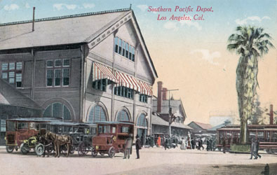 Southern Pacific Los Angeles Arcade Depot, Newman Post Card, RailsWest.com collection