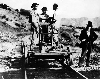 Chineese track construction workers near Lang, 1876, courtesy Photography Collection, Los Angeles Public Library