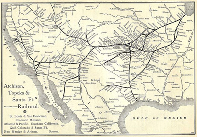 Atchison, Topeka & Santa Fe Railway Route Map from the 1891 Grain Dealers and Shippers Gazetteer.