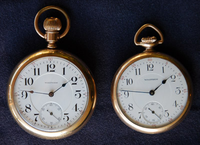 Waltham 18-size 1892 and 16-size 1908 Crescent Street watches illustrate difference in size