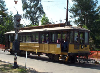 LARY Streetcar No. 665 stops at Alpine and Broadway at Orange Empire Railway Museum (Richard Boehle photo)