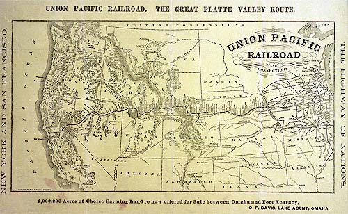 Union Pacific Railroad and Connections map, c 1869 (UPRR)