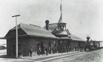 ATSF Perris Depot, 1892, like other depots, was aa hub of activity when the train arrived.