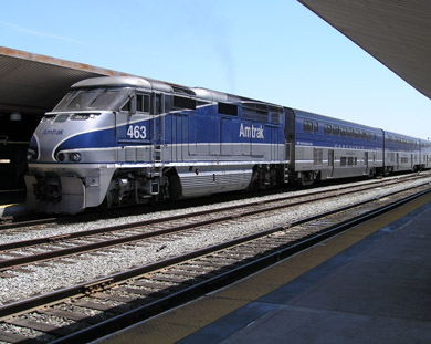 Amtrak California Surfliner prepares to leave Los Angeles Union Station (photo by Richard Boehle)