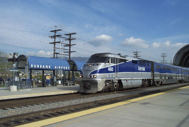 Amtrak train at the Burbank Airport Station (photo by Richard Boehle)