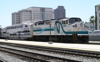 Metrolink commuter train ready to leave LA Union Station (photo by Richard Boehle)