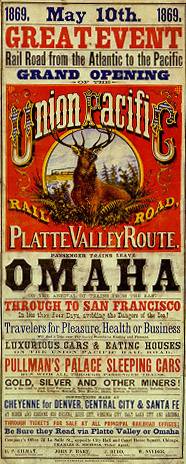 Union Pacific poster announcing the opening of the transcontinental railroad