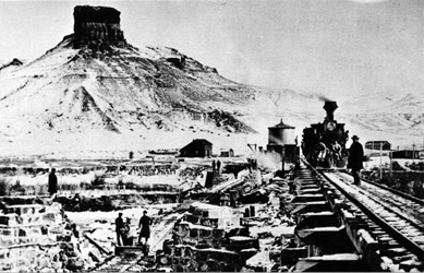 UP Construction at Green River, Wyoming Winter 1868 Citadel Rock is in the background (A. J. Russell)