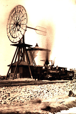Watertower and windmill at Laramie (A. J. Russell), courtesy Oakland Museum